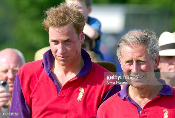 Prince William stands beside his father the Prince of Wales on Fathers Day after competing in The Calcot Manor Hotel Cup at Beaufort Hunt Polo Club...