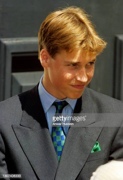 Prince William stands outside Clarence House before a birthday lunch with Queen Elizabeth, The Queen Mother on August 4, 1998 in London, England.