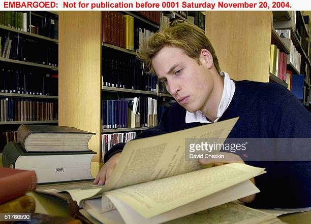 Prince William studies in the main university library on November 15 at St Andrews University, Scotland. The Prince is in the last year of his...