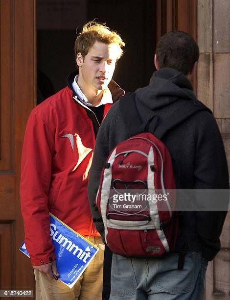Prince William talks to a friend in St Salvator's Quad at St Andrews University, where he is a student.