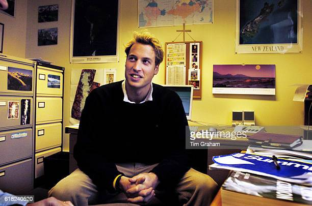 Prince William talks to Dr Charles Warren in his office in the Geography department of St Andrews University. The Prince is in the last year of his...