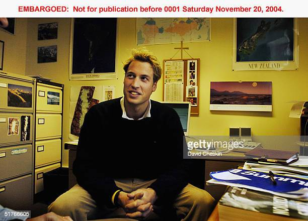 Prince William talks to Dr Charles Warren in his office in the Geography department on November 15 at St Andrews University, Scotland. The Prince is...