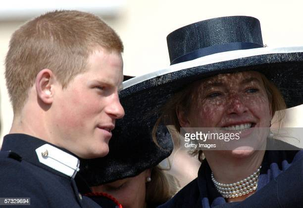 Prince William talks to his former nanny Tiggy LeggeBourke at his passingout Sovereign's Parade at Sandhurst Military Academy on April 12 2006 in...