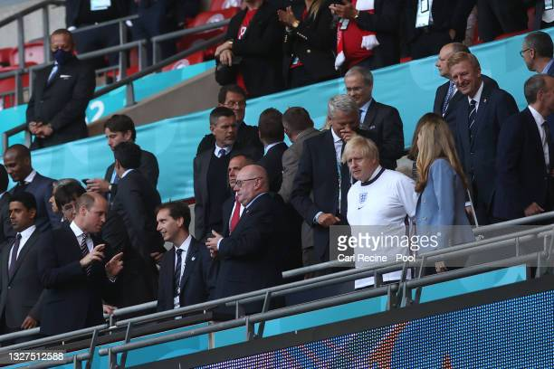 Prince William, The Duke of Cambridge and President of the Football Association, Boris Johnson, Prime Minister of United Kingdom and his wife, Carrie...
