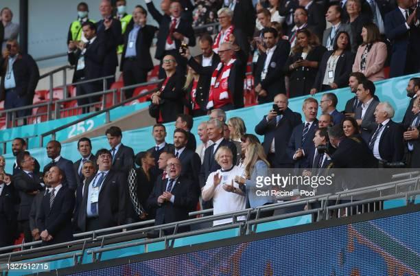 Prince William, The Duke of Cambridge and President of the Football Association, Sadiq Khan, Mayor of London, Boris Johnson, Prime Minister of United...