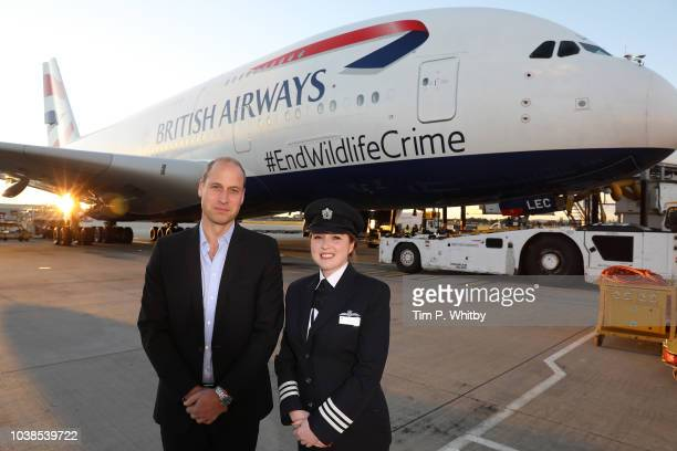 Head of Conservation Programmes for United for Wildlife Naomi Doak HRH Prince William The Duke of Cambridge and Senior First Officer Holly Tucker...