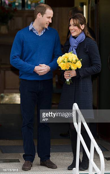Prince William the Duke of Cambridge arrives at the King Edward VII hospital in central London on December 6 2012 where Catherine the Duchess of...