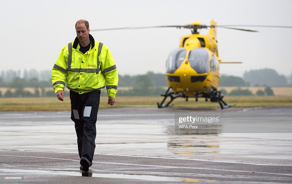 Prince William, The Duke of Cambridge as he begins his new job with the East Anglian Air Ambulance (EAAA) at Cambridge Airport on July 13, 2015 in Cambridge, England. The former RAF search and rescue helicopter pilot will work as a co-pilot transporting patients to hospital from emergencies ranging from road accidents to heart attacks.