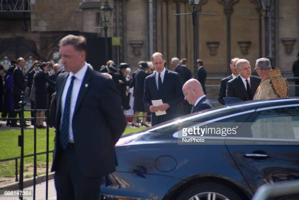Prince William the Duke Of Cambridge attends a service of thanksgiving in honour of the late British photographer Antony ArmstrongJones the former...