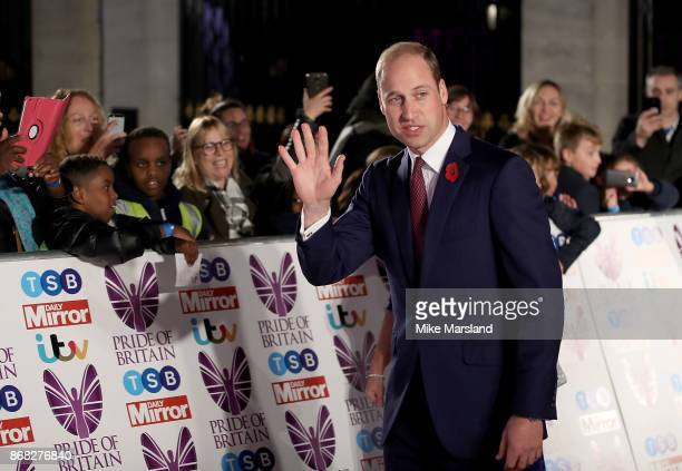 Prince William The Duke of Cambridge attends the Pride Of Britain Awards at Grosvenor House on October 30 2017 in London England