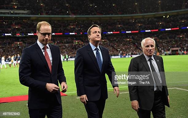 Prince William, The Duke of Cambridge, David Cameron, The Priminister of Great Britain and Greg Dyke, Chairman of The FA, prior to the International...