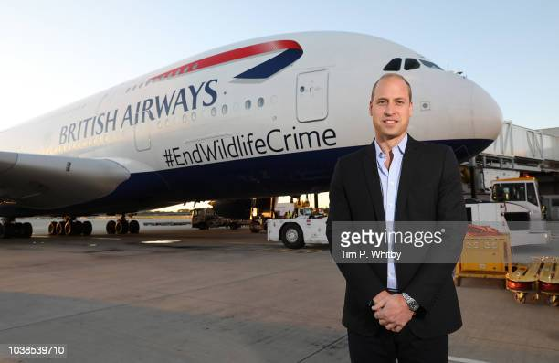Prince William The Duke of Cambridge departs Heathrow on a British Airways A380 aircraft displaying the message #EndWildlifeCrime on September 23...