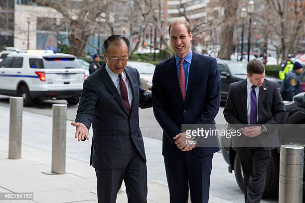 Prince William The Duke of Cambridge is greeted by World Bank President Jim Yong Kim before speaking during an International Corruption Hunters...