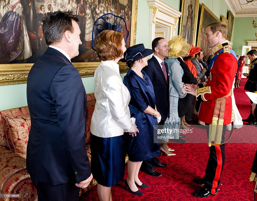 Prince William, The Duke of Cambridge meets meets Prime Minister of New Zealand John Key and Mrs Bronagh Key at Buckingham Palace after his wedding to Catherine Middleton on April 29, 2011 in central London, England. The marriage of Prince William, the second in line to the British throne, to Catherine Middleton is being held in London today. The Archbishop of Canterbury conducted the service which was attended by 1900 guests, including foreign Royal family members and heads of state. Thousands of well-wishers from around the world have also flocked to London to witness the spectacle and pageantry of the Royal Wedding and street parties are being held throughout the UK.