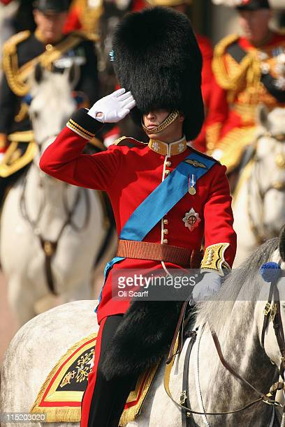 Prince William the Duke of Cambridge rides to attend the Colonel's Review in Horse Guards Parade on June 4 2011 in London England The Colonel's...