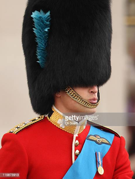 Prince William, the Duke of Cambridge, rides to Horse Guards Parade to take part in the Trooping the Colour parade on June 11, 2011 in London,...