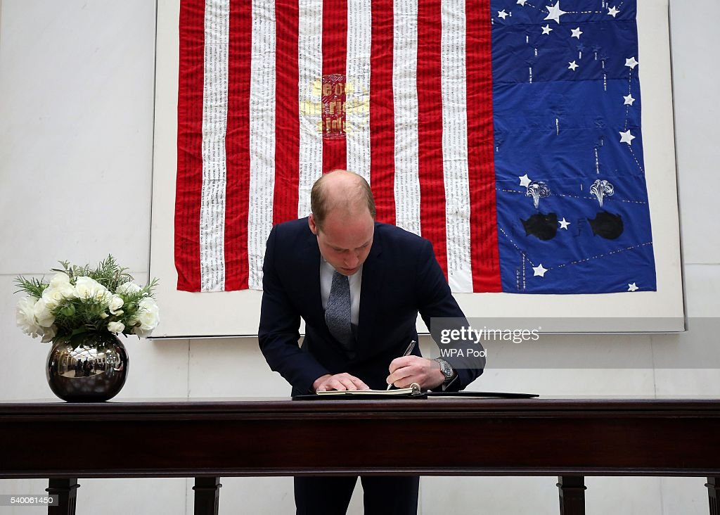 Prince WIlliam, The Duke of Cambridge signs a book of condolence for the Orlando mass shooting victims at the US Embassy on June 14, 2016 in London, England.