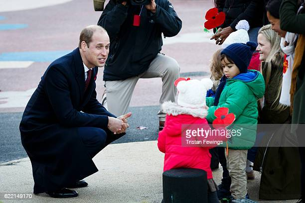 Prince William The Duke of Cambridge visits the Living Memory And Centenary Fields Projects Kensington Memorial Park on November 10 2016 in London...