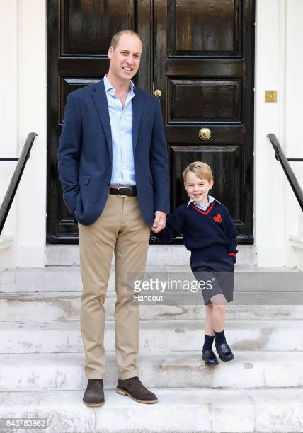 Prince William, the Duke of Cambridge with his son Prince George on his first day of school on September 7, 2017 in London, England. The picture was...