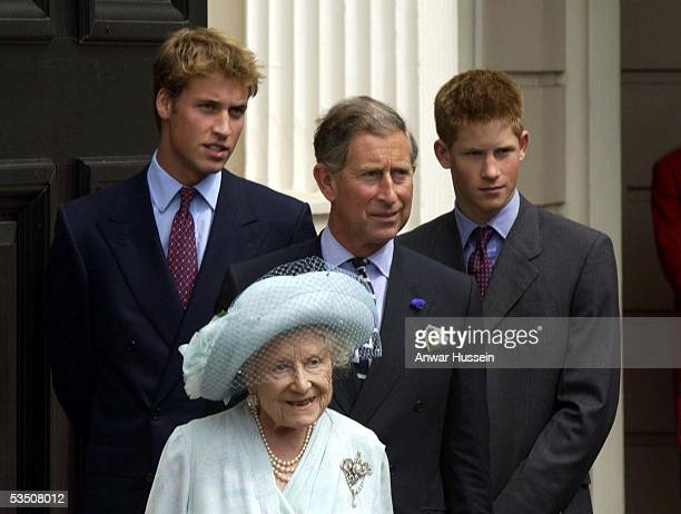 Prince William the Queen Mother Charles Prince of Wales and Prince Harry stand outside Clarence House on the Queen Mother's 101st birthday on August...