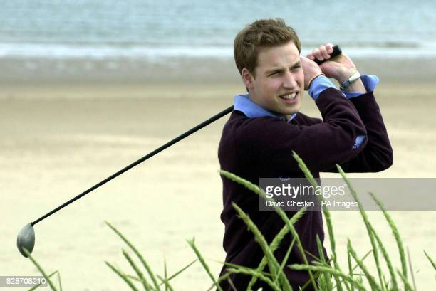 Prince William throws a practises his golf swing on the beach at St Andrews The Prince is two years into a four year History of Art degree at the...