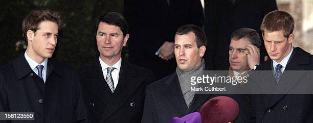 Prince William Tim Laurence Peter Phillips The Duke Of York Prince Harry Attend The Christmas Day Service At Sandringham Church