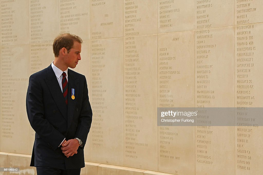Prince William tours the National Memorial Arboretum as he launches an GBP 8 million appeal to make the Alrewas site a world famous centre for remembrance on April 24, 2009 in Lichfield, England. Prince William was officially made the patron of the Future Foundations Appeal. During the poignant visit he viewed the name of his Sandurst platoon commander Major Alexis Roberts of the 1st Battalion The Royal Gurkha Rifles, killed in Afgahanistan and Intelligence Officer Joanna Dyer who trained in his platoon and killed near Basra.