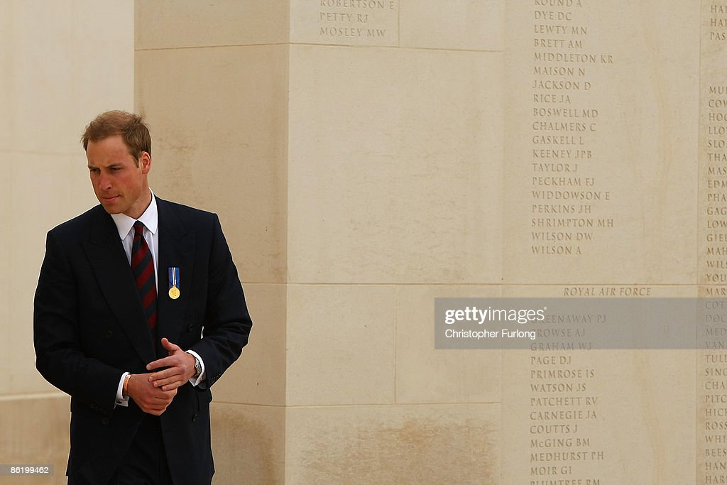 Prince William tours the National Memorial Arboretum as he launches an GBP8 million appeal to make the Alrewas site a world famous centre for remembrance on April 24, 2009 in Lichfield, England. Prince William was officially made the patron of the Future Foundations Appeal. During the poignant visit he viewed the names of his Sandurst platoon commander Major Alexis Roberts of the 1st Battalion The Royal Gurkha Rifles, killed in Afgahanistan and Intelligence Officer Joanna Dyer who trained in his platoon and killed near Basra.