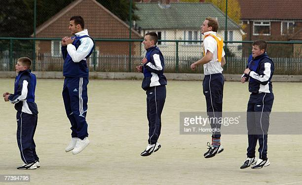 Prince William trains with students during the FA's hat trick project at Westgate Community College on October 17 2007 in NewcastleuponTyne England
