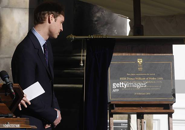 Prince William unveils a plaque to launch the 600th anniversary of the University of St Andrews in Scotland on February 25 2011 During the visit they...