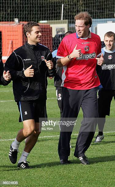 Prince William visits Charlton Athletic FC Training Ground at Sparrows Lane on October 28 2005 in London Prince William takes over from the Duke of...