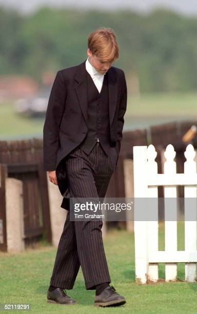 Prince William Walks Alone At The Eton Boys Tea Party At The Guards Polo Club After Ascot