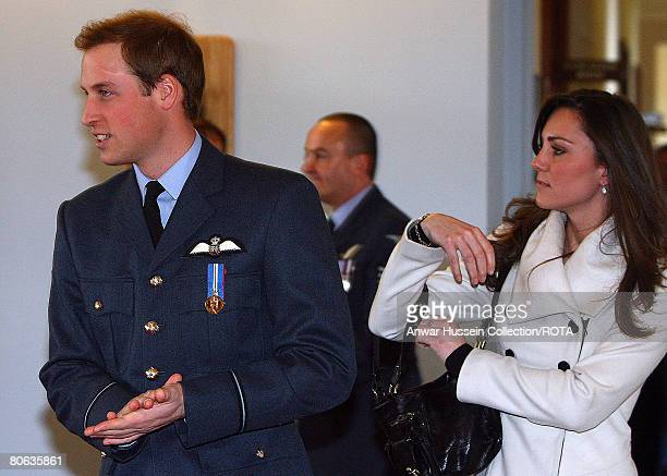 Prince William walks with his girlfriend Kate Middleton after his graduation ceremony at RAF Cranwell on April 11 2008 in Sleaford England