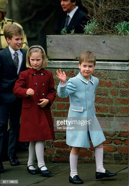 Prince William Waving As He Leaves Church After Attending Christmas Service With This Cousins, Zara And Peter Phillips. The Prince Is Wearing A Pale...