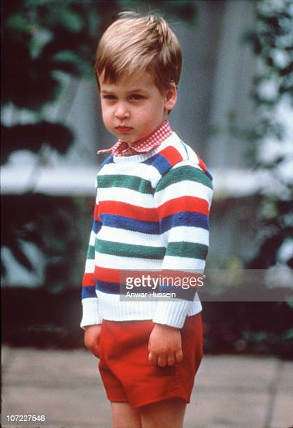 A young Prince William arrives for his first day at nursery school on September 24 1985 in London England