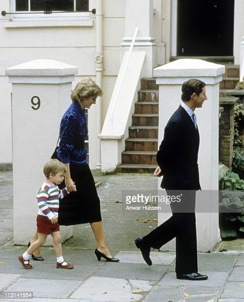 Prince William accompanied by his parents Prince Charles Prince of Wales and Princess Diana Princess of Wales arrive for his first day at Mrs Mynor's...
