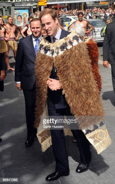 Prince William wearing a traditional Maori Cape arrives to open the Supreme Court on the second day of his visit to New Zealand on January 18 2010 in...