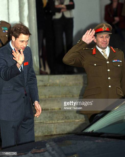 Prince William, wearing his name badge 'Wales', arrives to join his brother Prince Harry to undertake 44 weeks Army Officer training at the Sandhurst...