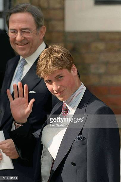 Prince William With His Arm In A Sling Following An Operation To Reset One Of His Fingers After A Rugby Injury Attending The Christening Of Prince...