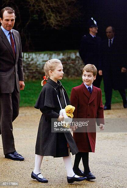 Prince William With His Cousin Zara Phillips As They Attend Church In Sandringham On Christmas Day Behind Them Is Mark Phillips