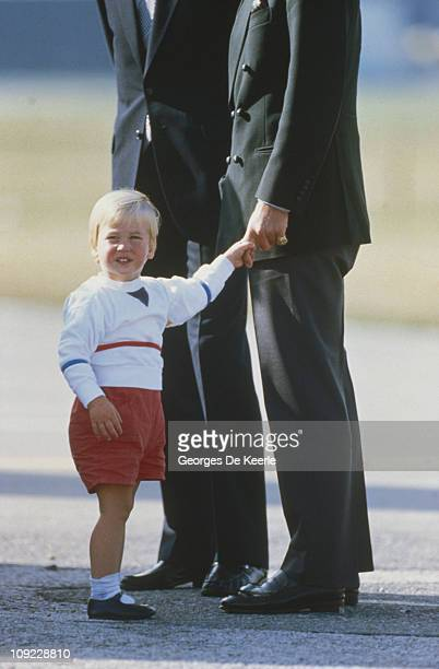 Prince William with his father Prince Charles at Aberdeen Airport Scotland after a holiday at Balmoral 7th September 1984