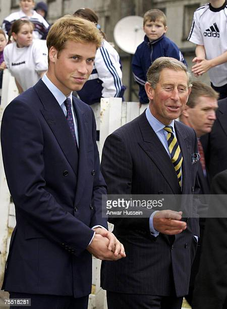 Prince William with his father The Prince of Wales visit Glasgow in Scotland in September 2001 just before starting university during the Anwar...