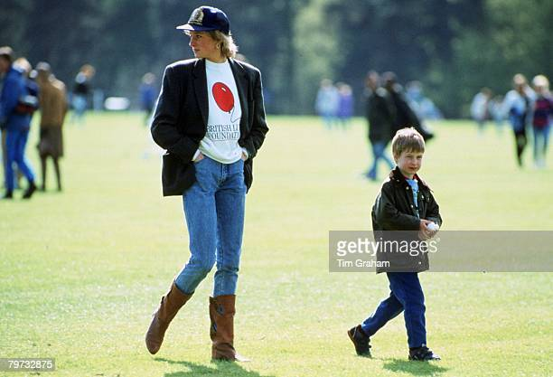 Prince William with his mother Diana, Princess of Wales at Guards Polo Club, The Princess is casually dressed in a sweatshirt with the British Lung...