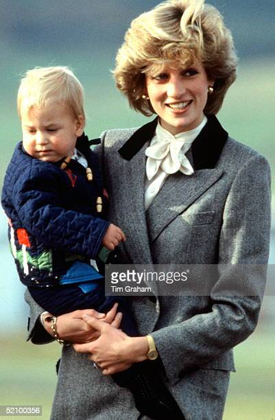 Prince William With His Mother Princess Diana At Aberdeen Airport On Their Way Home From Balmoral