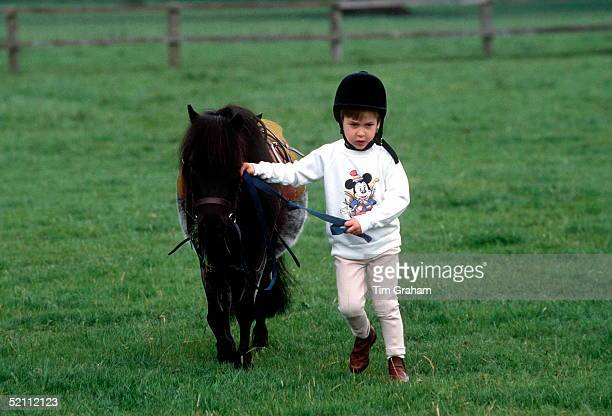 Prince William With His Pony Smokey At His Home, Highgrove In Gloucestershire.