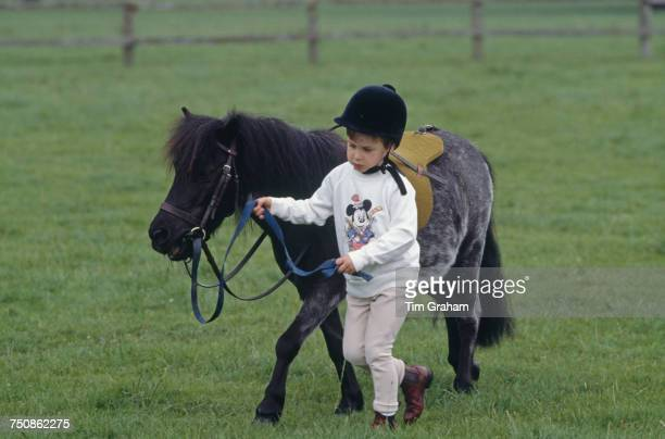 Prince William with his Shetland pony at Highgrove House in Doughton Gloucestershire 18th July 1986