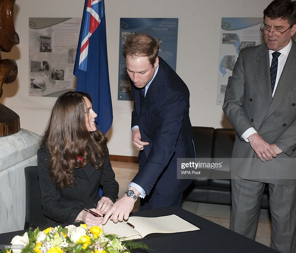 Prince William And Prince Harry Accompanied By Miss Middleton Visit The New Zealand High Commission : News Photo