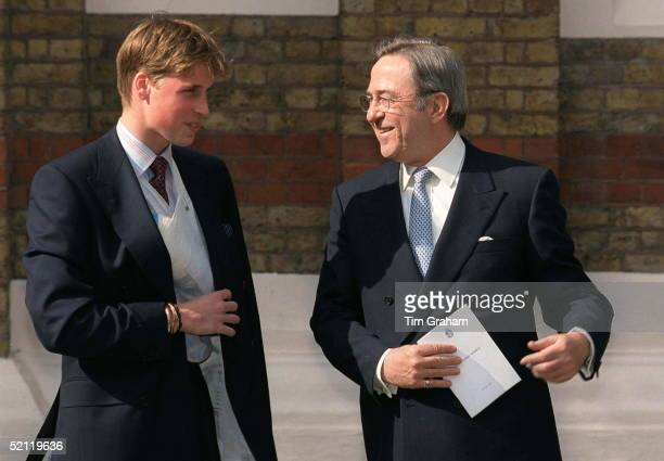 Prince William With King Constantine At The Greek Cathedral Of Saint Sophia In London For The Christening Of His Godchild, Konstantine Alexios Of...
