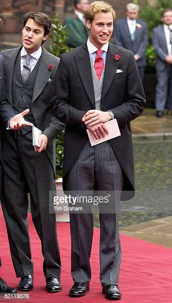 Prince William With William Van Cutsem In Morning Suit Tails As An Usher At The Van Cutsem/grosvenor Wedding At Chester Cathedral