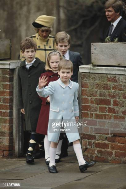 Prince William Zara Phillips Peter Phillips Lord Frederick Windsor and Diana Princess of Wales leave St George's Chapel in Windsor after the...